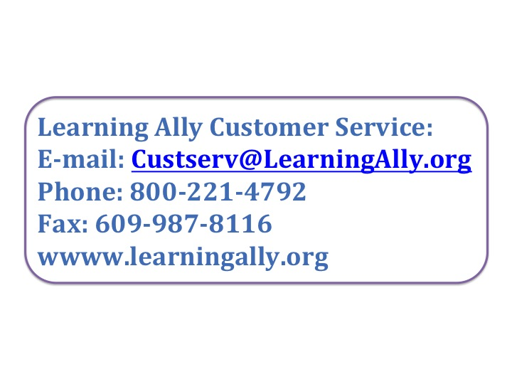 Learning Ally Contact Information